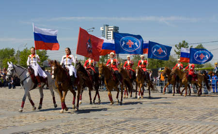 cavalryman: MOSCOW - MAY 9, 2014  cavalry show in historical memorial  Poklonnaya hill devoted to holiday Victory day of victory in Second World War, with participation of President cavalry regiment and Kremlin cavalry school  Editorial