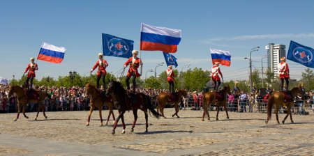 cavalryman: MOSCOW - MAY 9, 2014  cavalry show in memorial  Poklonnaya hill devoted to holiday Victory day of victory in Second World War, participants President cavalry regiment and Kremlin cavalry school