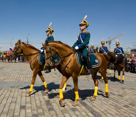 cavalry: MOSCOW - MAY 9, 2014  cavalry show in memorial  Poklonnaya hill devoted to holiday Victory day of victory in Second World War, participants President cavalry regiment and Kremlin cavalry school