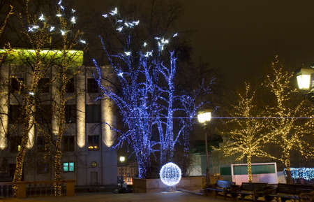 MOSCOW - DECEMBER 28, 2013  Tverskaya street illuminated for Christmas and New Year holidays
