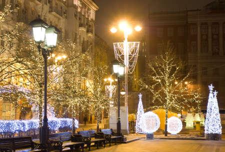 MOSCOW - DECEMBER 28, 2013: Tverskaya street illuminated for Christmas and New Year holidays.