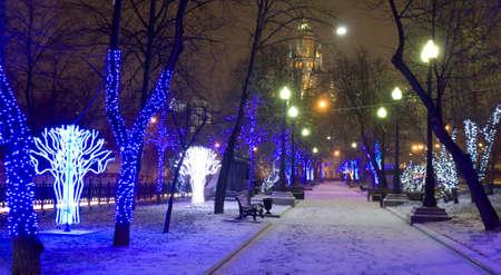 MOSCOW - JANUARY 04, 2014: Porkvoskiy boulevard  illuminated for Christmas and New Year holidays.