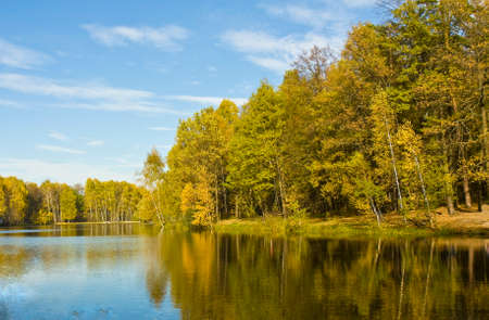 izmaylovskiy: Autumn landscape - lake with yellow forest on banks with reflection, recorded on Red lake in Izmaylovskiy park in Moscow.