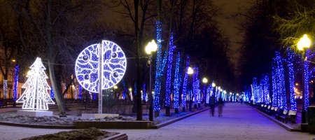 electric avenue: MOSCOW - JANUARY 03, 2014: Chistoprudniy boulevard illuminated for Christmas and New Year holidays. Editorial