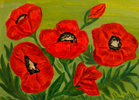 Hand painted picture, oil painting, red poppies. photo