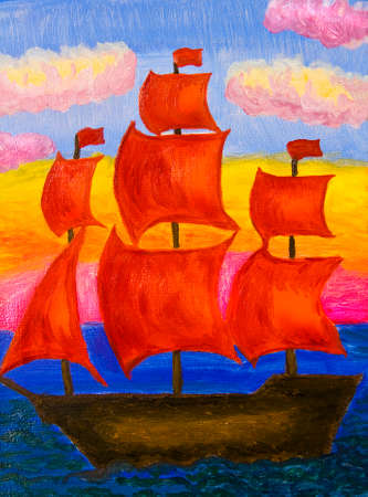 Hand painted picture, oil painting, ship with red sails. photo