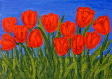 Hand painted picture, oil painting, red tulips on blue sky. Stock Photo