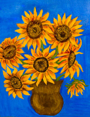 Hand painted illustration, oil painting, bouquet of sunflowers. illustration