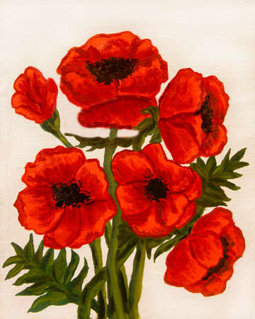Hand painted picture, oil painting, red poppies on white background, vertical. photo