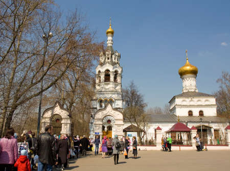 the believer: MOSCOW -  APRIL 19, 2014: people come to Saint Ilya church in Cherkizovo region to celebrate Easter. Editorial