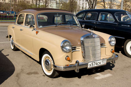 MOSCOW - APRIL 27, 2014: retro car mercedes benz of 1962 year on rally of classical cars, organized by Russian Club of Classical Autocars on Theatre square.