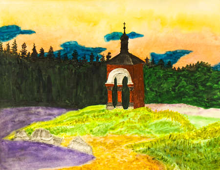 chapel: Hand painted picture, watercolours, landscape with chapel on bank of lake, St. Nicolas chapel on Valaam island on Ladoga lake on North of Russia.