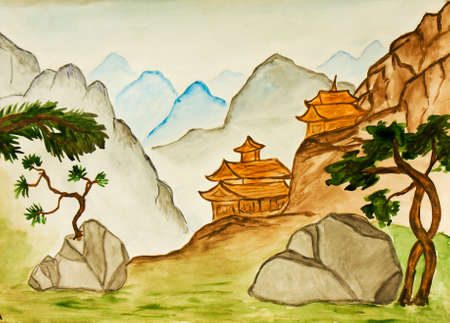 traditions: Hand painted picture, watercolours, landscape with hills and houses, in traditions of historical Chinese art.