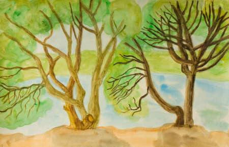 hand painted: Hand painted picture, watercolours, willow trees near water.