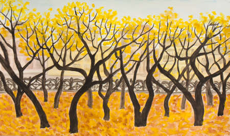 Hand painted picture, watercolours, boulevard in autumn.