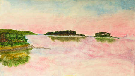 fine art painting: Hand painted picture, watercolours - landscape with pink sunset on sea with two little islands.
