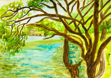 scenics: Hand painted picture, watercolours - landscape with willow trees near lake.