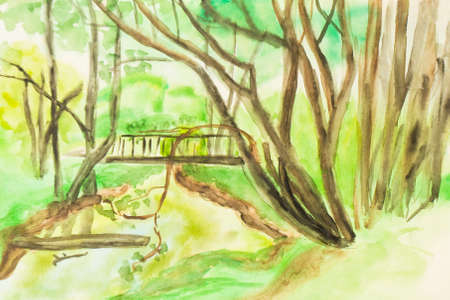 bridge hand: Hand painted picture, watercolours, summer landscape - trees and bridge on litle spring in park.