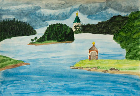 monastery: Hand painted picture, watercolours - monastery on island Valaam, Ladoga lake, Russia.