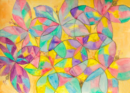 Hand painted picture, watercolours, background of multicoloured buterflies. Stock Photo