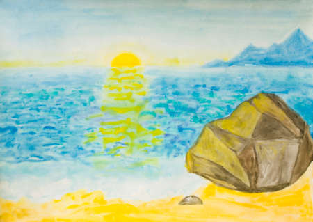 yellow hills: Hand painted picture, watercolours - sea landscape with sunset and hills on horizon.