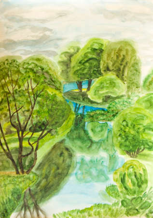 hand painted: Hand painted picture, watercolours - summer landscape, river with trees near. Stock Photo