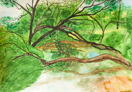 visual art: Hand painted picture, watercolours, summer landscape - trees near river.