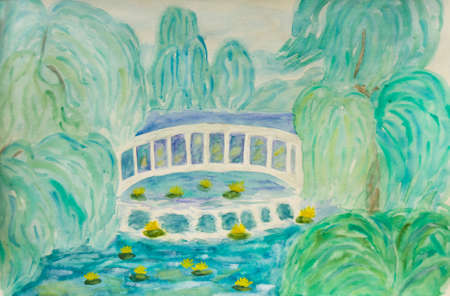 bridge hand: Hand painted picture, watercolours - summer landscape with white bridge on river and trees in park.