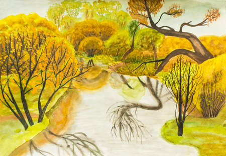 fall landscape: Hand painted picture, watercolours, autumn landscape with trees and river. Stock Photo