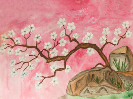 traditions: Hand painted picture, watercolours, little cherry tree with white flowers., in traditions of old classical Chinese and Japanese art. Size of original 27 x 20 sm. Stock Photo