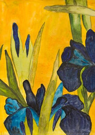 Hand geschilderd beeld, aquarellen, blauwe irissen op gele achtergrond, kopie van oude Japanse klassieke schilderkunst. Grootte van de oorspronkelijke 21,5 x 15 cm.