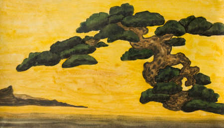 Hand painted picture, watercolours - pine tree on yellow background, copy of old classical Japanese painting. Size of original 26,5 x 15,5 sm.