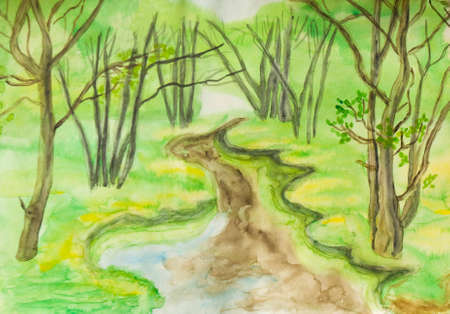 sm: Hand painted picture, watercolours, spring landscape - little river in forest. Size of original 30 x 21 sm.