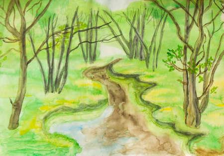 Main tableau peint, aquarelle, paysage printemps - petite rivière dans la forêt. Taille de l'original 30 x 21 cm.