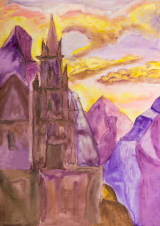 sm: Hand painted picture, watercolours, fantastic castle in mountains. Size of original 29,5 x 21 sm.