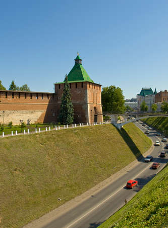 middle ages: Nikolskaya tower of middle ages town fortress Kremlin in Nizhniy Novgorod Russia. Editorial