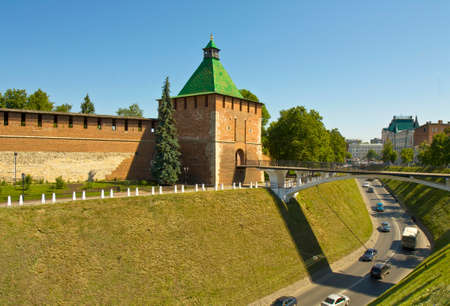 middle ages: Saint Nicholas tower of middle ages town fortress Kremlin in Nizhniy Novgorod Russia. Editorial