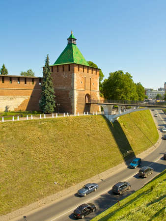 middle ages: Saint Nicholas tower of middle ages town fortress Kremlin in town Nizhniy Novgorod Russia. Editorial