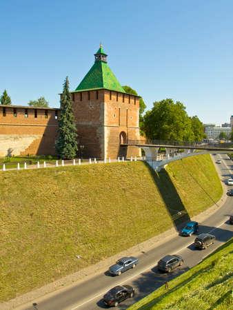 edad media: San Nicolás torre de la fortaleza edades ciudad media Kremlin en la ciudad Nizhny Novgorod Rusia. Editorial
