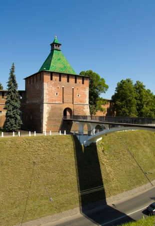 'saint nicholas': Saint Nicholas tower of middle ages fortress Kremlin in town Nizhniy Novgorod Russia.