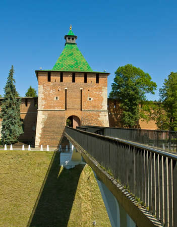 middle ages: Saint Nicholas tower of middle ages fortress Kremlin in town Nizhniy Novgorod Russia.