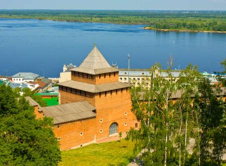the volga river: Johns tower of Kremlin fortress and river Volga in Nizhniy Novgorod Russia.