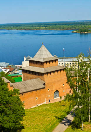 Johns tower of middle ages fortress Kremlin in town Nizhniy Novgorod on bank of river Volga Russia. Editorial