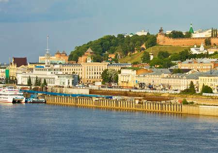 nizhni novgorod: NIZHNI NOVGOROD RUSSIA  JUNE 03 2013: Panoramic sight with view on Kremlin fortress exist from 16 century and River port on Volga.