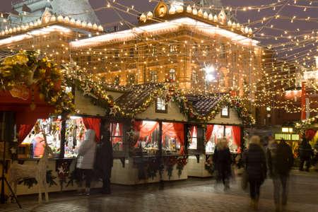 christmas market: MOSCOW - DECEMBER 24, 2014: Christmas fair (market) on Manezhnaya square. Editorial