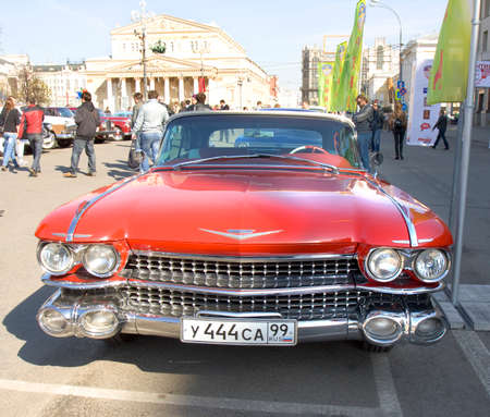 eldorado: MOSCOW - APRIL 27, 2014: retro car cadillac eldorado on rally of classical cars, organized by Russian Club of Classical Autocars on Theatre square.