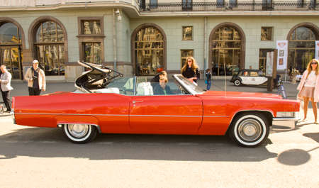 MOSCOW - APRIL 27, 2014: retro car cadillac on rally of classical cars, organized by Russian Club of Classical Autocars on Theatre square.