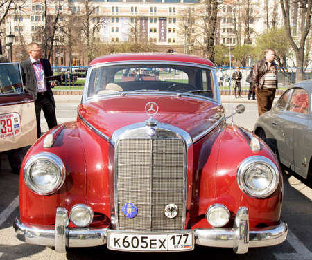 motorcar: MOSCOW - APRIL 27, 2014: retro car mercedes benz on rally of classical cars, organized by Russian Club of Classical Autocars on Theatre square.
