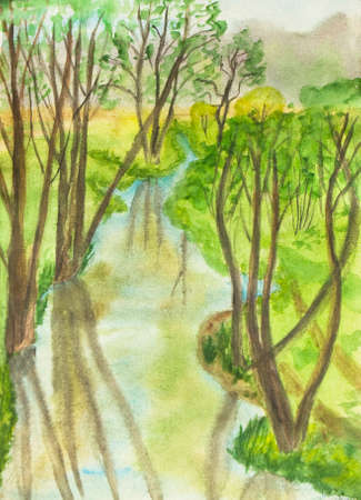 creative arts: Hand painted picture, watercolours - summer landscape with little river in park and trees. Size of original 30 x 21 sm.