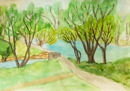 sm: Hand painted picture, watercolours - summer landscape, lake and trees in park. Size of original 30 x 21 sm.